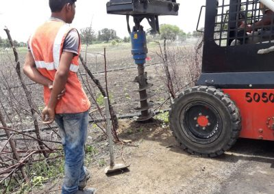 Auger Drilling Hole For Installing Cable